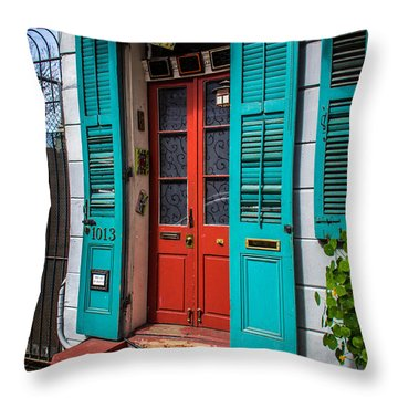 Double Red Door Throw Pillow by Perry Webster