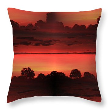 Double Red Sunrise Throw Pillow