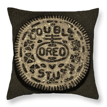 Double Stuff Oreo In Sepia Negitive Throw Pillow