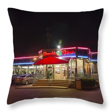 Double T Diner At Night Throw Pillow by Brian Wallace