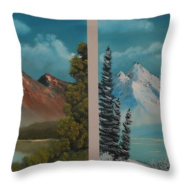Double Take.......summer And Winter Throw Pillow