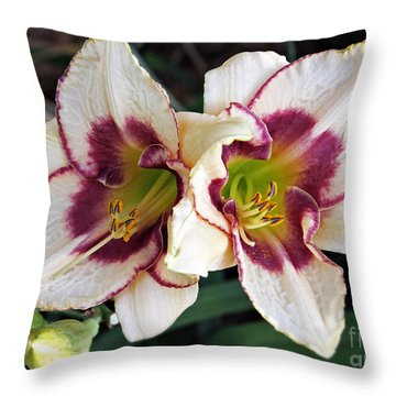 Double The Bloom Throw Pillow by Elizabeth Winter