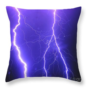 Double Triple Blue Lightning Throw Pillow