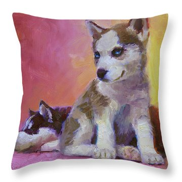 Double Trouble - Alaskan Husky Sled Dog Puppies Throw Pillow