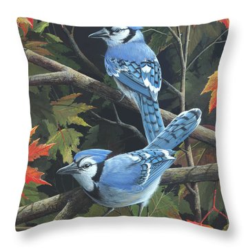 Throw Pillow featuring the painting Double Trouble by Mike Brown