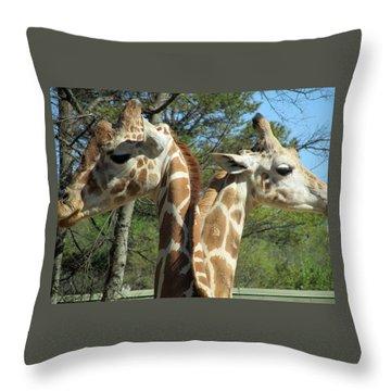 Giraffes With A Twist Throw Pillow
