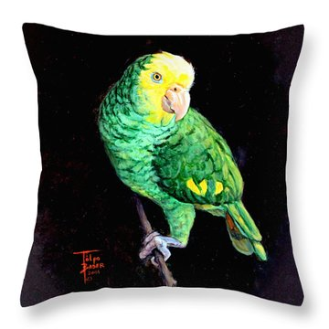 Double Yellow Headed Amazon Paco Throw Pillow