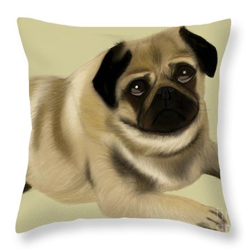 Doug The Pug Throw Pillow