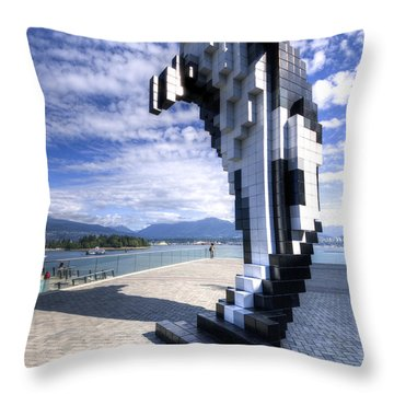 Throw Pillow featuring the photograph Douglas Coupland's Digital Orca by Ross G Strachan