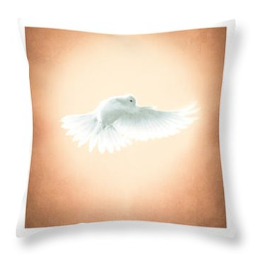 Dove In Flight Triptych Throw Pillow