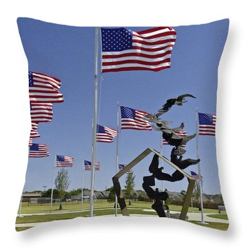 Throw Pillow featuring the photograph Doves And Flags by Allen Sheffield