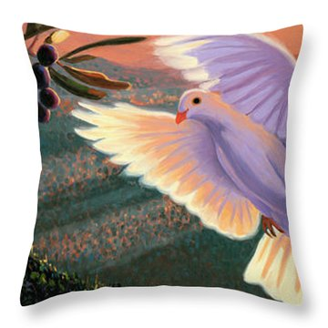 Doves And Olive Branch Throw Pillow by Steve Simon