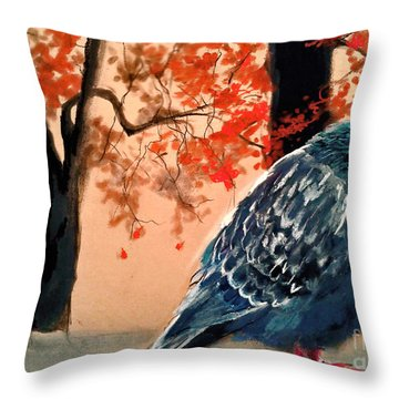 Throw Pillow featuring the drawing Doves Drawing by Maja Sokolowska