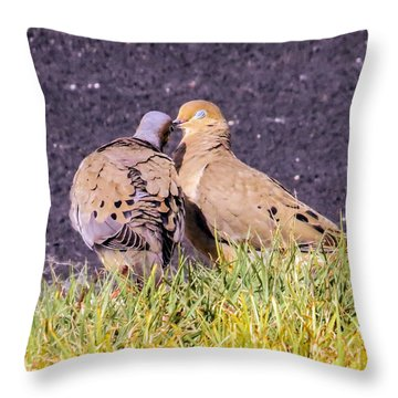 Doves Kisses Throw Pillow by Zina Stromberg