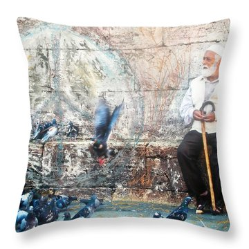 Throw Pillow featuring the photograph Doves Of Istanbul by Lesley Fletcher