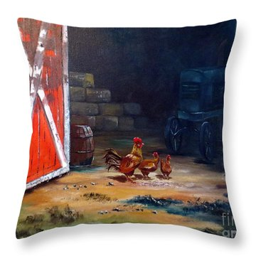 Throw Pillow featuring the painting Down On The Farm by Lee Piper