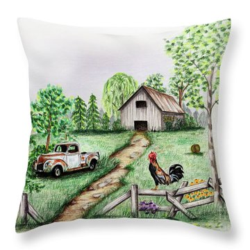 Down On The Farm Throw Pillow