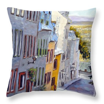 Down The Hill Old Quebec City Throw Pillow by Richard T Pranke