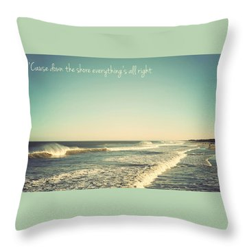 Down The Shore Seaside Heights Vintage Quote Throw Pillow by Terry DeLuco