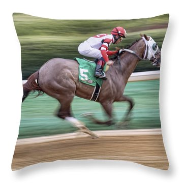 Down The Stretch - Horse Racing - Jockey Throw Pillow by Jason Politte