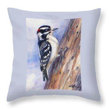 Downey Woodpecker Throw Pillow