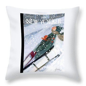 Downhill Racers Throw Pillow