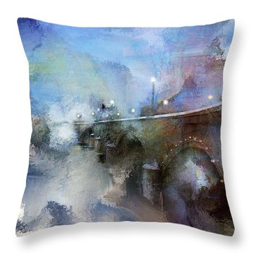 Downtown Bridge Over The Grand Grand Rapids Michigan Throw Pillow