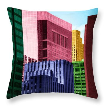 Downtown Building Blocks Throw Pillow by Bartz Johnson