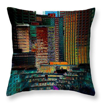Throw Pillow featuring the digital art Downtown Chaos by Stuart Turnbull