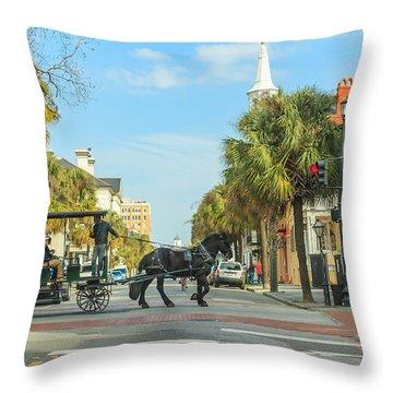 Downtown Charleston Stroll Throw Pillow