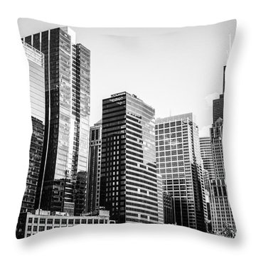 Downtown Chicago Buildings In Black And White Throw Pillow by Paul Velgos