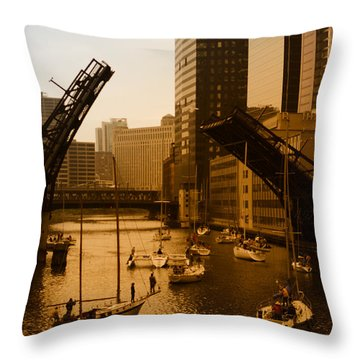 Downtown Chicago Throw Pillow by Miguel Winterpacht