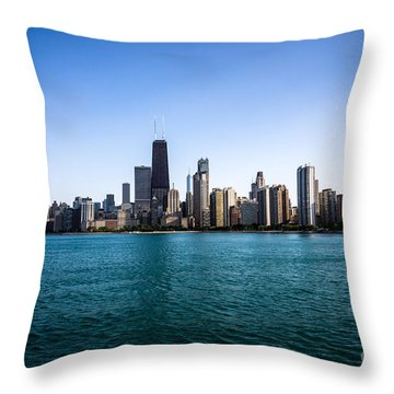 Downtown City Buildings In The Chicago Skyline Throw Pillow by Paul Velgos