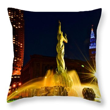 Downtown Cleveland Throw Pillow by Frozen in Time Fine Art Photography
