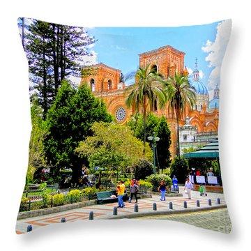 Downtown Cuenca Ecuador Throw Pillow by Al Bourassa