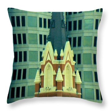Downtown Dallas Throw Pillow by Janette Boyd