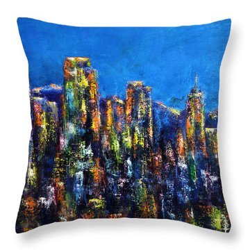Throw Pillow featuring the painting Downtown Denver Night Lights by Jennifer Godshalk