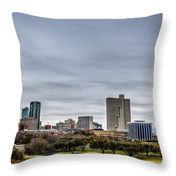 Downtown Fort Worth Trinity Trail Throw Pillow