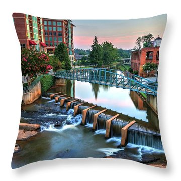 Downtown Greenville On The River Throw Pillow