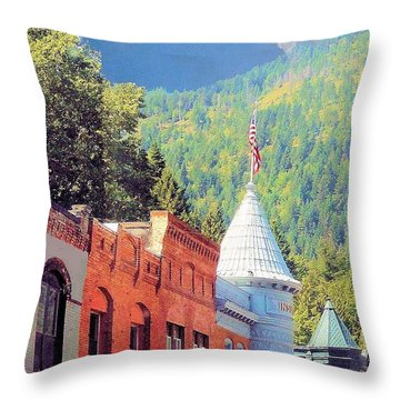 Throw Pillow featuring the photograph Downtown Historic Wallace Idaho by Janette Boyd
