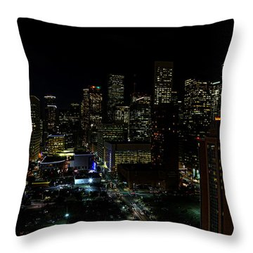 Downtown Houston At Night Throw Pillow by Judy Vincent