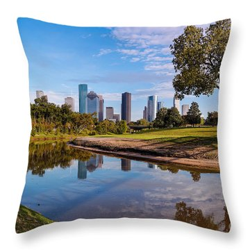 Downtown Houston Panorama From Buffalo Bayou Park Throw Pillow