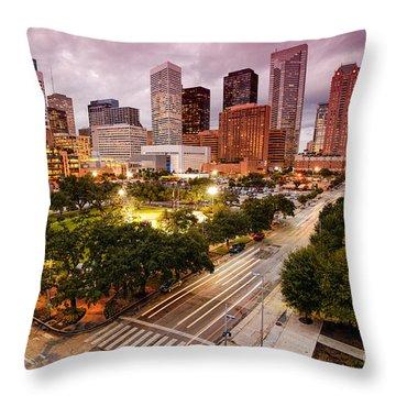 Downtown Houston Skyline During Twilight Throw Pillow