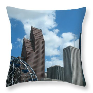 Downtown Houston With Ferris Wheel Throw Pillow by Connie Fox