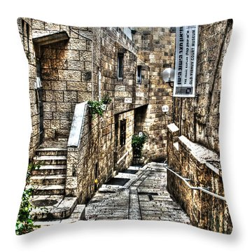 Throw Pillow featuring the photograph Downtown In Jerusalems Old City by Doc Braham