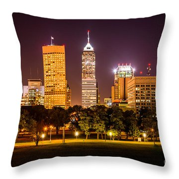 Downtown Indianapolis Skyline At Night Picture Throw Pillow by Paul Velgos