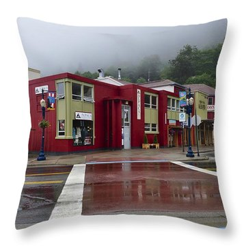 Throw Pillow featuring the photograph Downtown Juneau On A Rainy Day by Cathy Mahnke