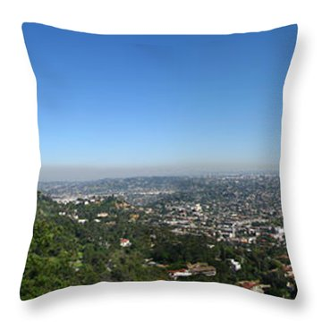 Downtown La From Griffith Observatory Throw Pillow by Bedros Awak