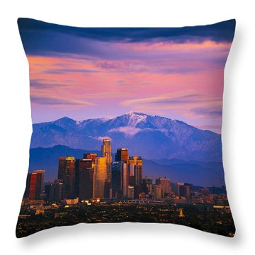 Downtown Los Angeles After Sunset Throw Pillow