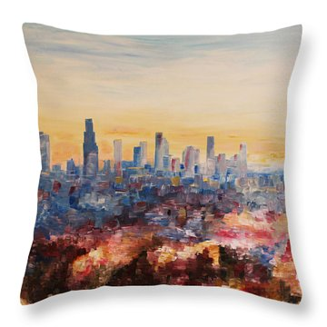 Downtown Los Angeles At Dusk Throw Pillow by M Bleichner